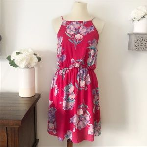 Everly lace up back pink floral dress size large